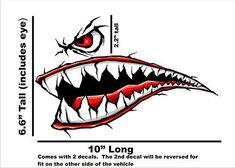 World War 2 Flying Tiger Fighter Teeth Tiger Teeth new Motorcycle Sportbike Decal STicker Ninja Motorcycle, Motorcycle Decals, Bike Stickers, Bumper Stickers, Airbrush, Tiger Tooth, Shark Logo, Shark Tattoos, New Motorcycles