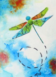 Dragonfly Original Art ACEO Watercolor Painting by Artfulcreations, $9.00