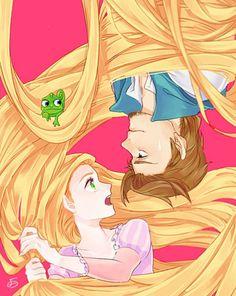 Disney Anime/ Rapunzel and Eugne Film Disney, Arte Disney, Disney Fan Art, Disney Magic, Disney Movies, Disney Anime Style, Rapunzel Eugene, Disney Rapunzel, Tangled Rapunzel