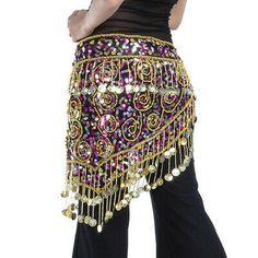 Belly Dance Coins Hip Scarf Triangle Sequins Waist Chain Charms Wrap Belt   eBay Belly Dance Scarf, Dance Wear, Fancy Dress, Boho Shorts, Looks Great, Triangle, Coins, Charms, Sequins