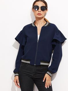 27$  Buy here - http://di7h6.justgood.pw/go.php?t=11431 - Navy Striped Trim Ruffle Bomber Jacket