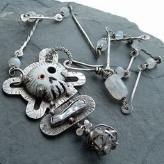 Sterling Necklace Skull and Bones Herkimer Diamond OUTRAGEOUS. $525.00, via Etsy.