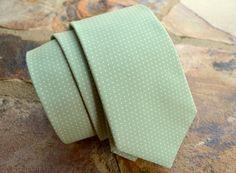 sage green cotton necktie for mengroomsman by ClipABowTie on Etsy