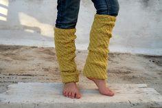 Long Mustard Yellow Leg Warmers, Knit Leg Warmers