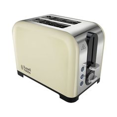 Classic two slice cream toaster from Russell Hobbs. The Henley has extra wide slots for the use of larger bread at breakfast time and a removable crumb tray for easy cleaning.Packed with great features such as variable browning control, cancel amp; frozen function and an extra high lift, this stylish Henley toaster makes a great co-ordinating match with the Russell Hobbs Henley kettle for a beautiful set of kitchen appliances.Features:Extra wide slotsVariable browningStylish design - pair… Cooking Appliances, Small Appliances, Kitchen Appliances, Best 2 Slice Toaster, Russell Hobbs, Stylish Kitchen, Canterbury, Kitchen
