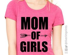 MOM OF GIRLS. This unisex triblend t-shirt is made from a blend of cotton, polyester, and rayon. Super Soft! Great gift idea! Shirt colors available -- heather black, heather gray, heather red, heathe
