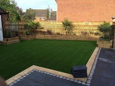 Cheshire Landcapes completed a large contemporary garden design for a customer in Great Sankey, Warrington. This beautiful garden comprised of a number of sleeper planters, artificial grass & t… Contemporary Garden Design, Modern Landscape Design, Garden Landscape Design, Modern Landscaping, Backyard Landscaping, Landscape Architecture, Landscaping Design, Backyard Patio, Architecture Design