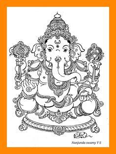 Mysore Painting, Kerala Mural Painting, Tanjore Painting, Ganesha Drawing, Lord Ganesha Paintings, Ganesha Art, Indian Women Painting, Indian Art Paintings, Outline Drawings