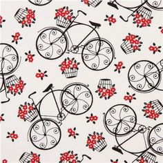 white romantic bike fabric
