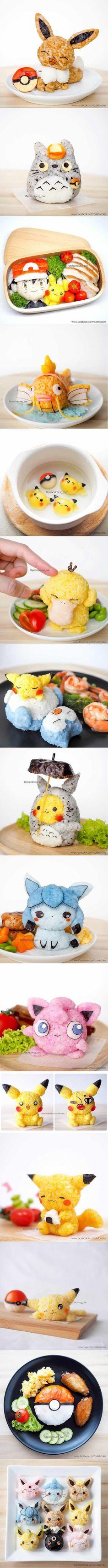 Onigiri rice ball and bento. Gotta eat 'em all. (By Peaceloving Pax) #pikachu #pokemon #kidsbento