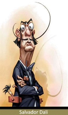 Salvador Dali – caricature by Vladymyr Lukash Cartoon Faces, Funny Faces, Cartoon Art, Cartoon Gifs, Funny Caricatures, Celebrity Caricatures, Caricature Artist, Caricature Drawing, L'art Salvador Dali