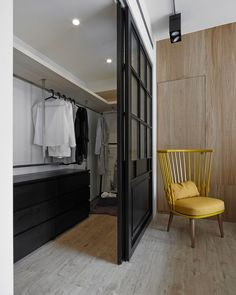 studio designed this modern apartment in Taipei, Taiwan for a newly married couple who were looking to have some flexibility with the spaces. Bedroom Closet Design, Closet Designs, Bedroom Decor, Bedroom Ideas, Wardrobe Design, Entryway Decor, Master Bedroom, Modern Interior Design, Interior Architecture