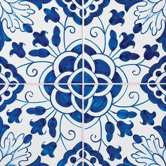 198 Camelias, Blue Glazed 5 1/2x5 1/2 Ceramic Tiles 5 1/2x5 1/2 - Country Floors of America LLC.
