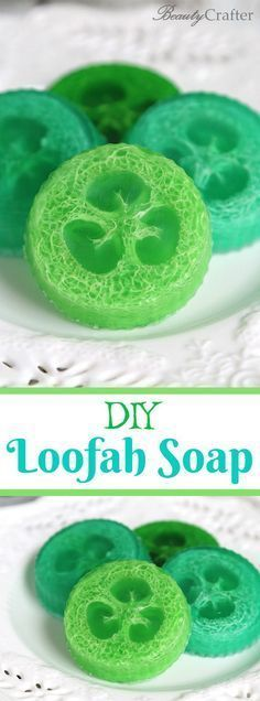DIY Loofah Soaps - make your own soap with loofah inside, great for exfoliating #crafts #diy #soap #soapmaking #diygifts