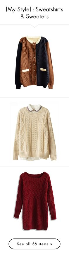 """""""[My Style] : Sweatshirts & Sweaters"""" by fallensoul101 ❤ liked on Polyvore featuring tops, cardigans, jackets, outerwear, round neck cardigan, round neck top, color block top, colorblock top, brown tops and sweaters"""