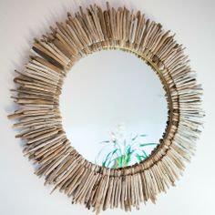 Bring the beach inside! Double Layer Round Driftwood Mirror by Madera del Mar. #LiveOriginally #beach #decor #design #mirror #home