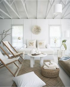 Love the rustic take in this room - perfect beach house chic.