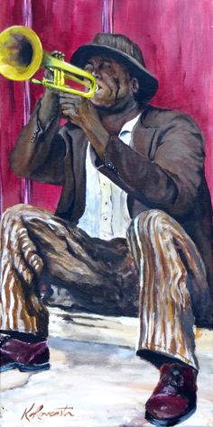 An original acrylic painting of a colorful cuban inspired musician playing his trumpet street side. Size is 20x10x.75. You can fill the soulful