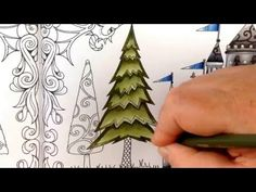 Part 3 - how to color a tree - coloring book enchanted forest - colored with prismacolor pencils - YouTube