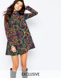 Image 1 ofReclaimed Vintage High Neck Mini Dress In Artist Floral Print