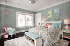 Kids Bedroom with Pottery Barn Samantha Entryway Bench, Hardwood floors, Family of Birds Art, flush light, Crown molding