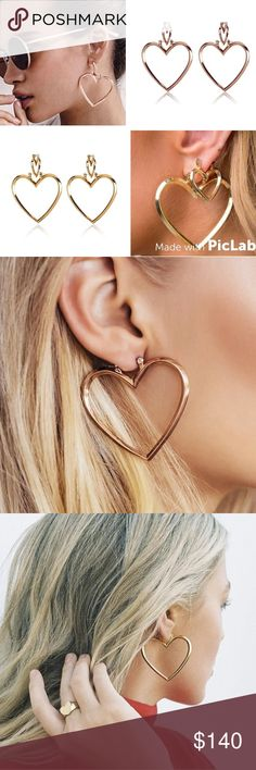 "Double heart shapped earrings Available in gold and rose gold. The earrings are made of zinc alloy. The small earrings are 0.78"" by 0.78"". The big earrings are  1.7 (W) by 1.9 (H). Rose gold pictutes will be available later. Smoke free, cat friendly home Jewelry Earrings"
