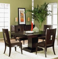 Extravagant Wood Cheap Dining Room Sets Brown Table And Chairs Decorated In Wooden Flooring And Green Plant Decor Combined In Green Wall Interior