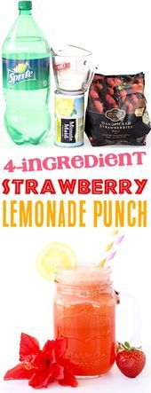 Ingredients} – The Frugal Girls Strawberry Lemonade Punch Recipe! Ingredients} – The Frugal Girls,Frugal Girls Recipes Strawberry Lemonade Punch Recipe! easy summer punch recipes can make a party. Sparkling Strawberry Lemonade, Pineapple Lemonade, Sparkling Drinks, Strawberry Margarita, Cocktails, Strawberry Summer, Sparkling Punch, Strawberry Shortcake, Summer Punch Recipes