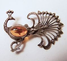 Vintage Sterling Silver Amber Peacock Pin