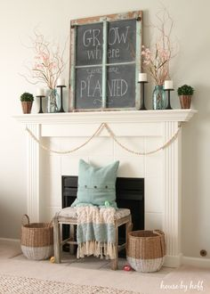 A simple and pretty spring mantel!
