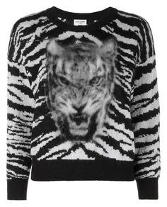 SAINT LAURENT Tiger Intarsia Wool And Mohair Sweater. #saintlaurent #cloth #