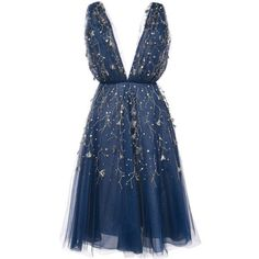 Oscar de la Renta embroidered flared midi dress (22.115 BRL) ❤ liked on Polyvore featuring dresses, short dresses, vestidos, cocktail dresses, blue, midi dress, embroidered cocktail dress, embroidered dresses, mini dress and flared dresses