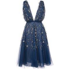 Oscar de la Renta embroidered flared midi dress ($6,885) ❤ liked on Polyvore featuring dresses, short dresses, vestidos, cocktail dresses, blue, blue fit-and-flare dresses, short blue dress, short flared dresses, blue dress and blue embroidered dress