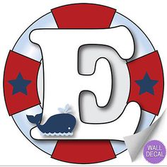 Wall Letters e Nautical Ocean Sailing Custom Letter Children's Nursery Baby's Room Baby Name Boys Bedroom Decor Alphabet Initial Vinyl Stickers Decals Kids Decorations Decal Boat Whale Anchor Girls Nautical Letters, Nautical Mickey, Baby Shower Marinero, Name Wall Stickers, Sticker Vinyl, Nautical Birthday Invitations, Sailor Birthday, Alphabet, Baby Boy Nursery Decor