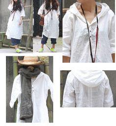 Asymmetrical Hoodie Linen Shirt Dress/ 28 Colors/ RAMIES by Ramies