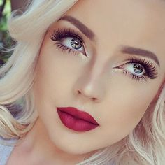 Fresh makeup look with red lips