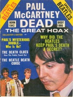 "The Beatles' superstardom in late 60s helped produce the ""Paul is Dead"" hoax, which still remains one of the biggest legends in music. It started when some fans began to claim that hidden messages that Paul McCartney was dead could be heard when certain Beatles songs were played backwards. The rumor gained steam with the help of radio DJs & conspiracy theorists & a legend arose that McCartney had died in a car accident during the recording of one of the band's albums & replaced by a…"