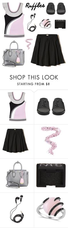 """""""Ruffled Top"""" by deepwinter ❤ liked on Polyvore featuring No Ka'Oi, Yves Saint Laurent, Hollister Co., Topshop, MCM, NARS Cosmetics, DEOS, Allurez and ruffledtops"""