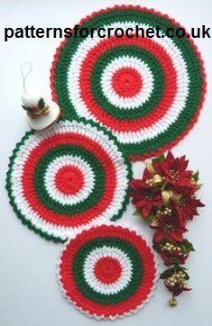Free crochet pattern trio of hot mats usa