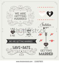 """Jogo de ornamentos para casamento e elementos decorativos, bandeira vintage, fita, etiquetas, quadros, crachá, etiquetas. vetor do Elemento amor"""