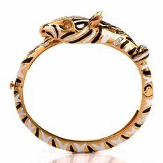 Vintage Enamel Zebra 18K Gold Bangle Animal Bracelet Item #: 124101