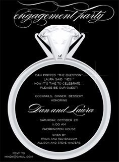 There's one diamond a girl waits her life for!  This flat white engagement party invitation features a black background with a large solitaire engagement ring in the center.  Includes white unlined enPrice - null