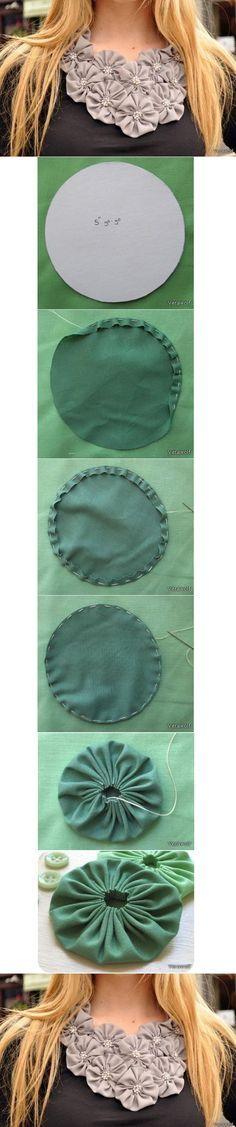 1*****vs.........//*DIY del fiore del Tessuto Ornament - Collana con coccarde in tessuto - fabric necklace tutorial