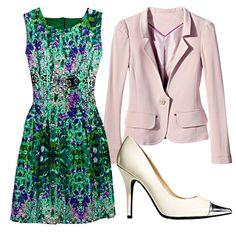 Floral dress, pink blazer, cap-toe pumps