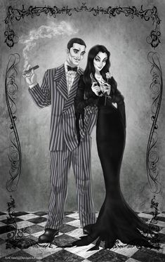 Gomez and Morticia by ArtCrawl on DeviantArt The Addams Family, Anime Comics, Gomez And Morticia, Charles Addams, The Munsters, Arte Disney, Gothic Art, Horror Art, Horror Pics