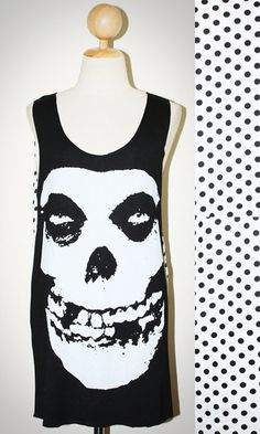 Misfits Skull Horror Polka Dot Punk Rock Black Sleeveless Tank Top Singlet Women T-Shirt Size M