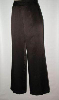 TALBOTS Petites Silk Side Zip Full Leg Pants - DARK BROWN-  6P #TalbotsPetites #DressySideZipPants