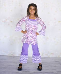 This Purple Paisley Hannah Top & Pants - Infant, Toddler & Girls is perfect! #zulilyfinds