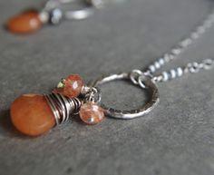"Boho Fine Silver necklace - Orange Aventurine, Sunstone and Peridot 24"" length"