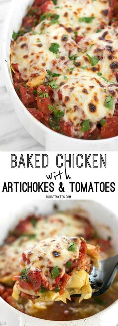 Baked Chicken with Artichokes and Tomatoes is an easy last minute dinner you can make with pantry staples. BudgetBytes.com
